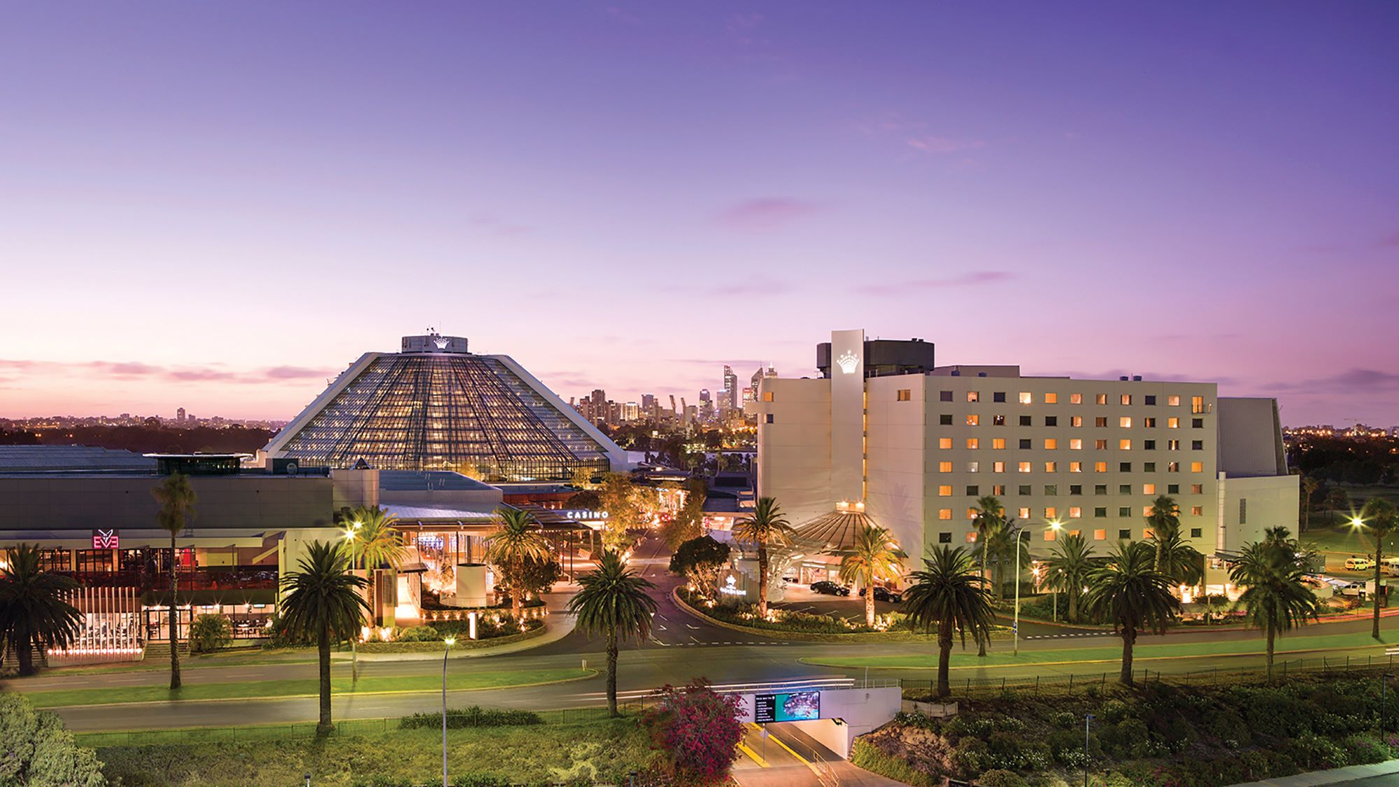 Crown Perth casino at dusk