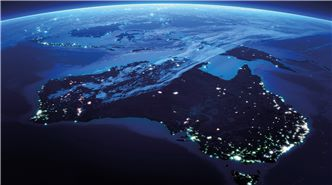 australia map with water and lights