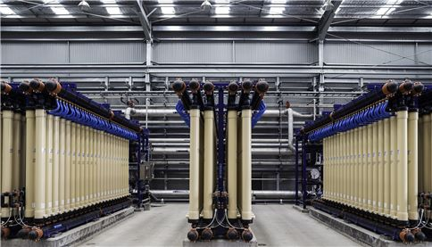 Filter pipes in water treatment facility