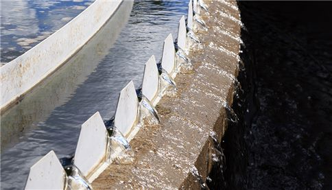 Saw tooth weir at treatment plant