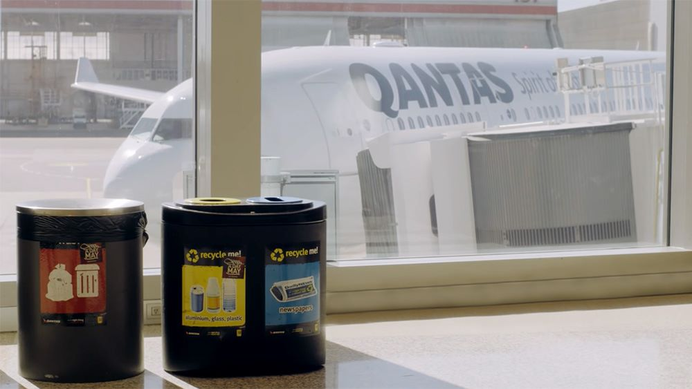 Recycling bins in the Qantas terminal