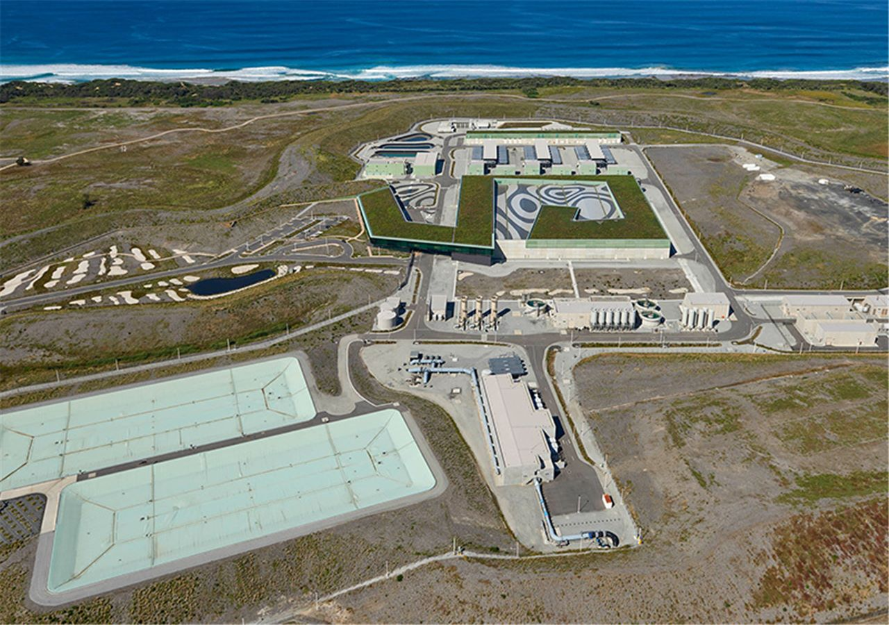 landscape aerial view of the victorian desalination project