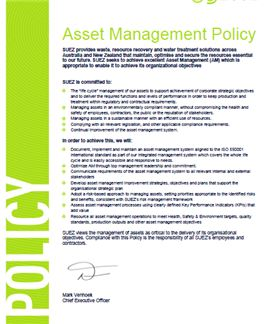 Asset mangement policy