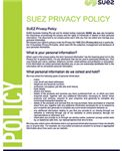SUEZ Privacy Policy