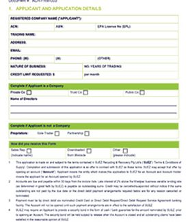Application for Commercial Credit Account SUEZ
