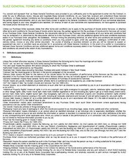 SUEZ general terms and conditions of good and/or services