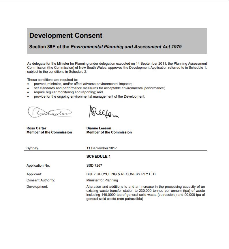 Development consent