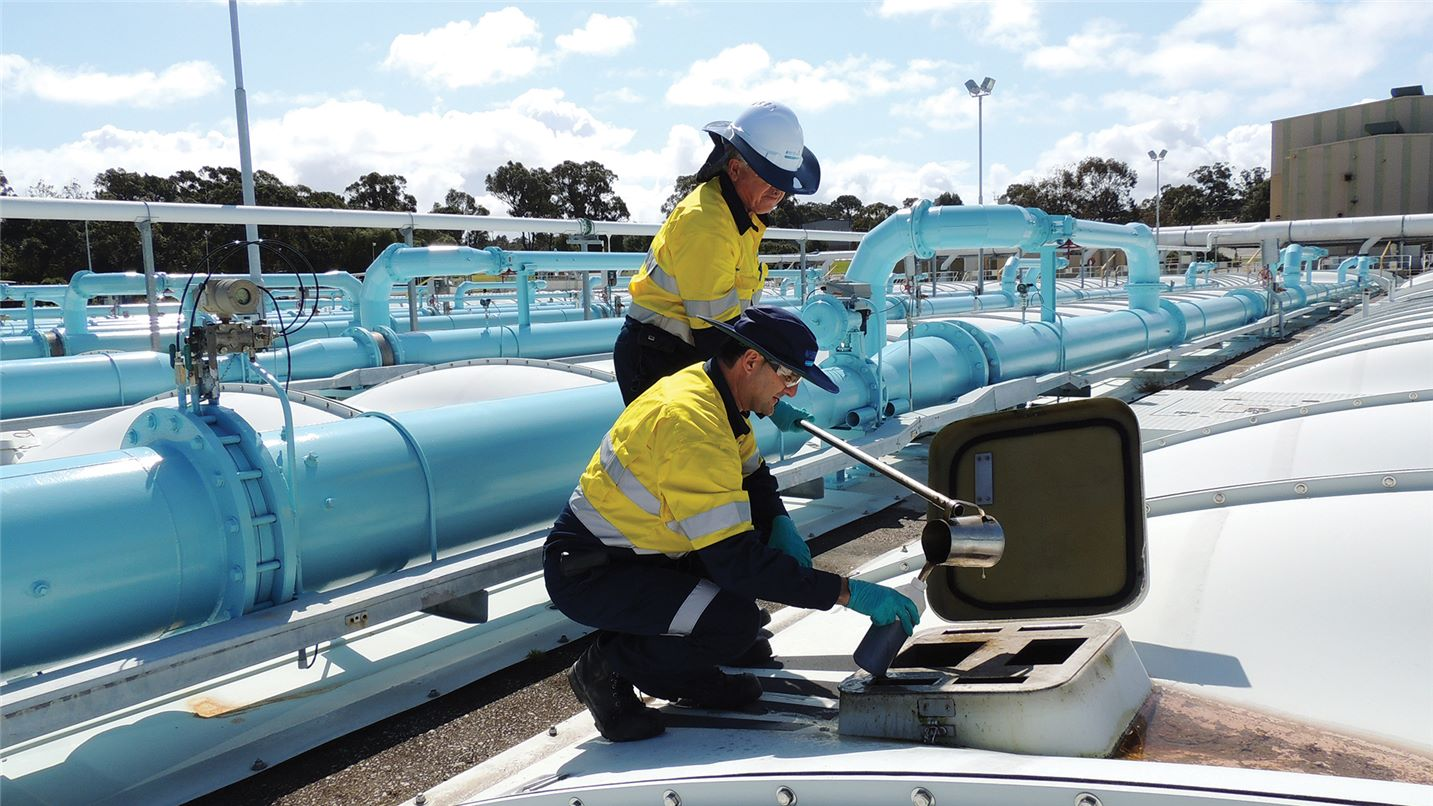 Aroona Alliance employees sampling water at plant