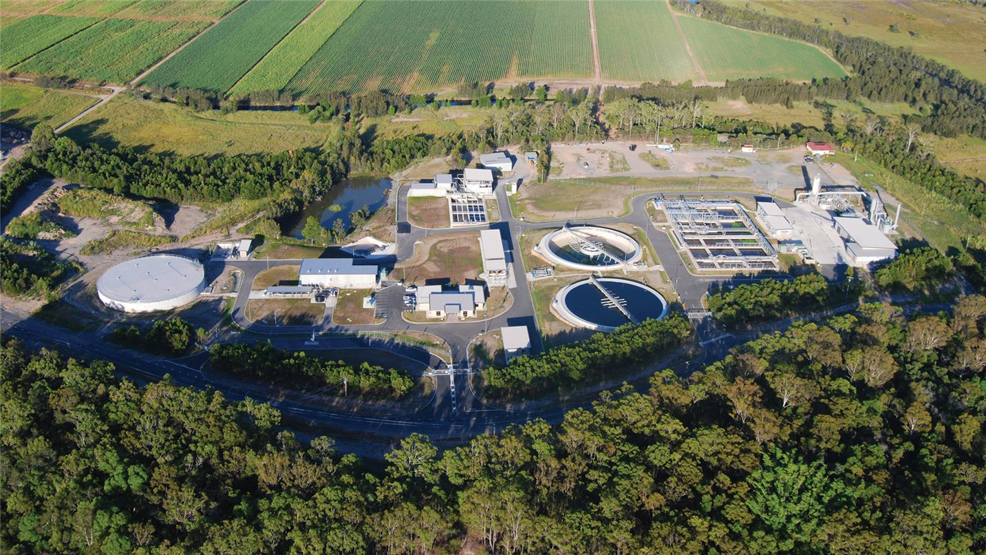 Aerial view of Pimpama Recycled Water Plant