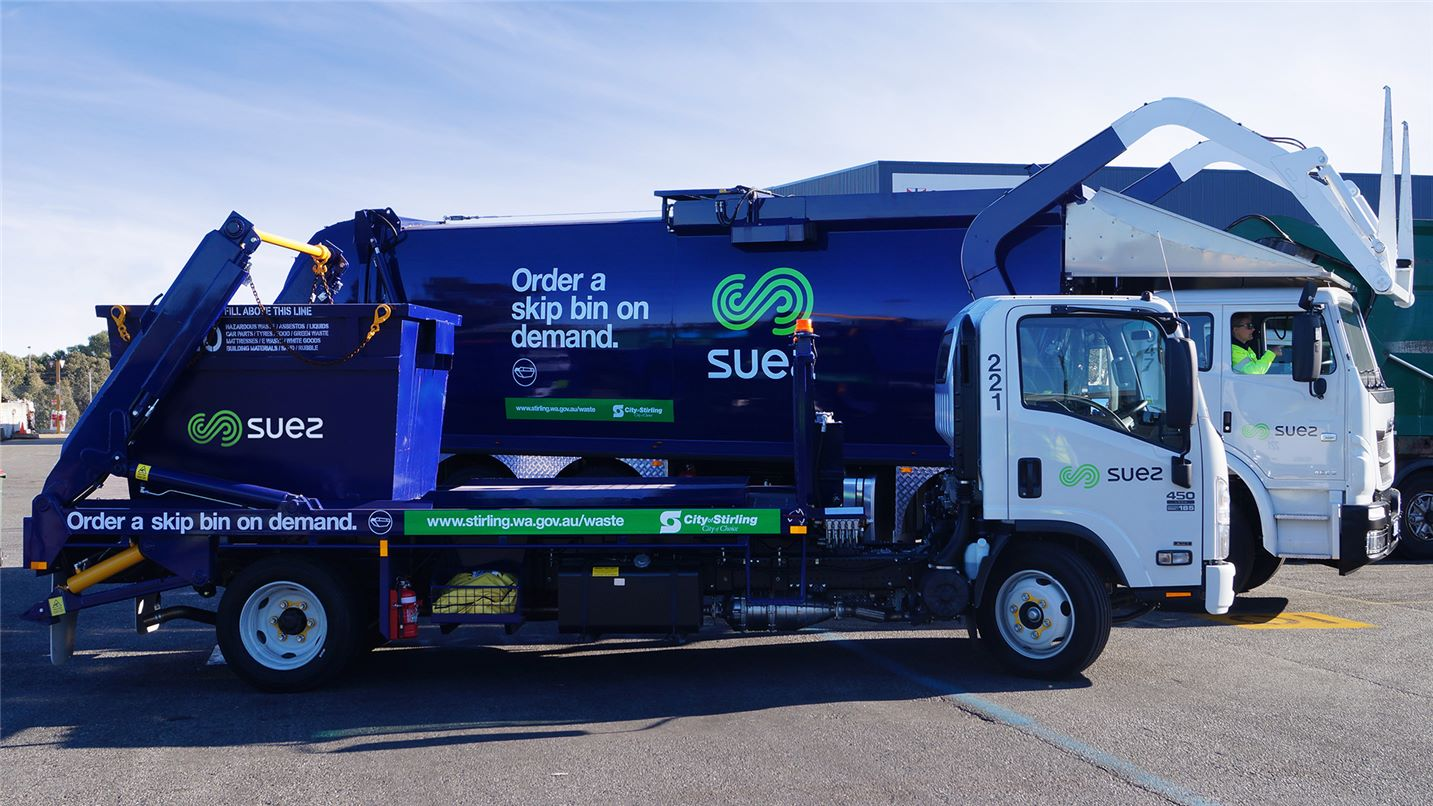 SUEZ and City of Stirling skip bin and front lift collection trucks