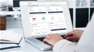 SUEZ customer portal header image. Image of laptop screen showing SUEZ connect portal.