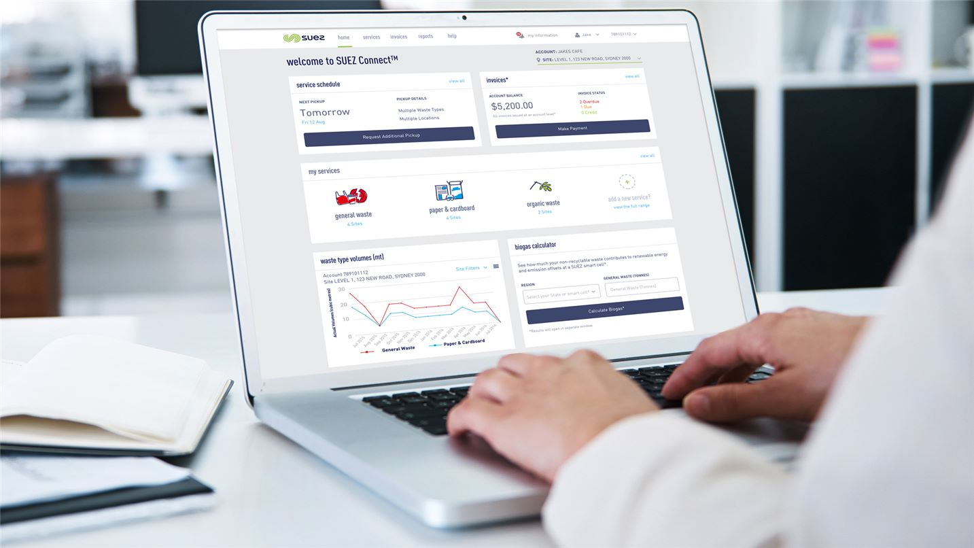 SUEZ customer portal header image. Image of laptop screen showing SUEZ connect portal.