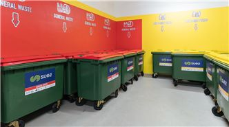 SUEZ education support header image. Image of colour coded bin room with general waste and mixed recycling bins.