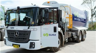 SUEZ waste management equipment image header. Image showing Mercedes side lift garbage truck displaying SUEZ livery.