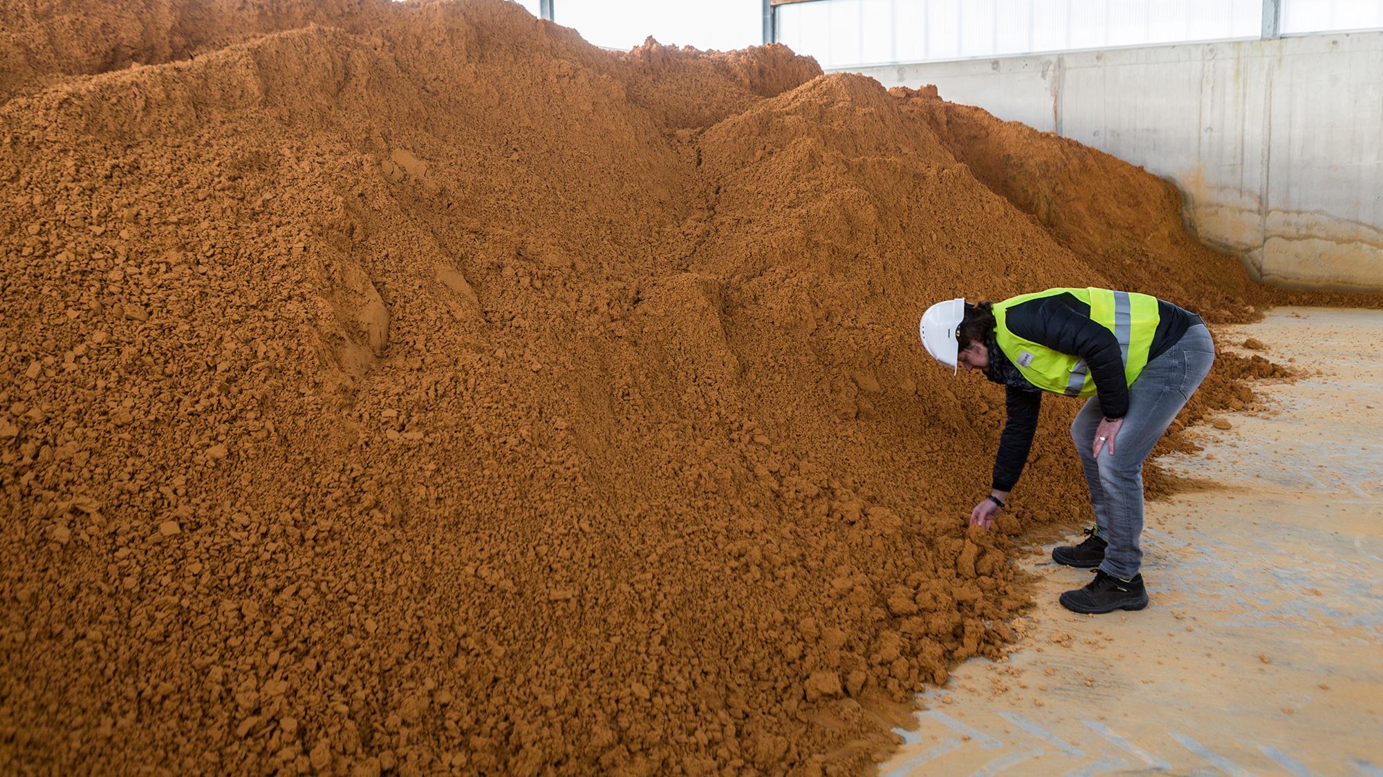 SUEZ employee inspecting stockpile of sludge