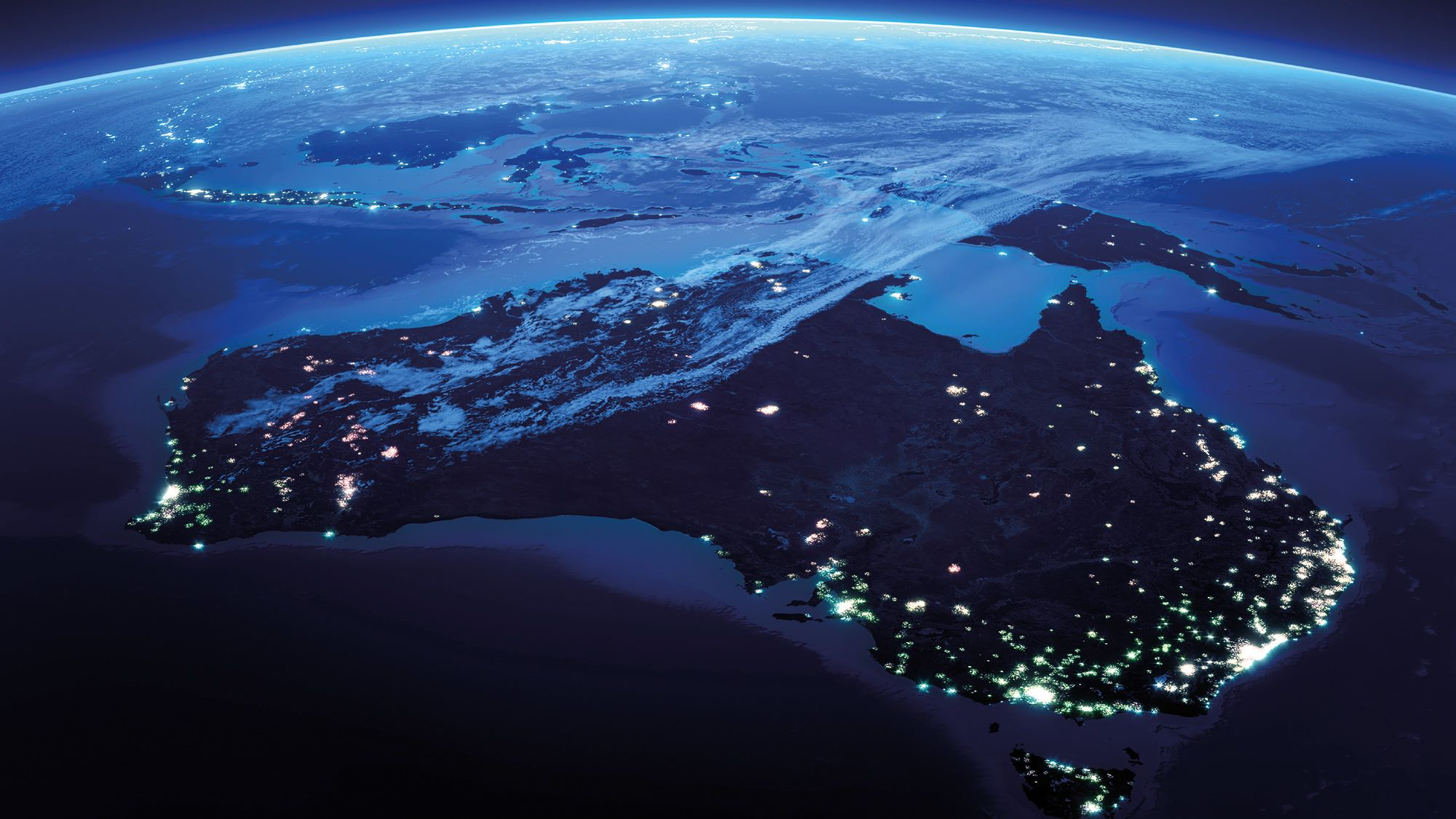 australia view from space at night