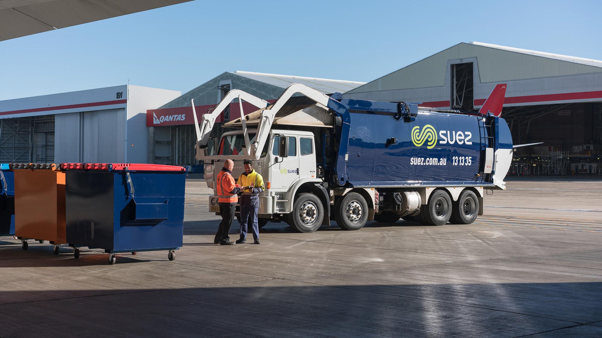 SUEZ truck in Qantas hangar