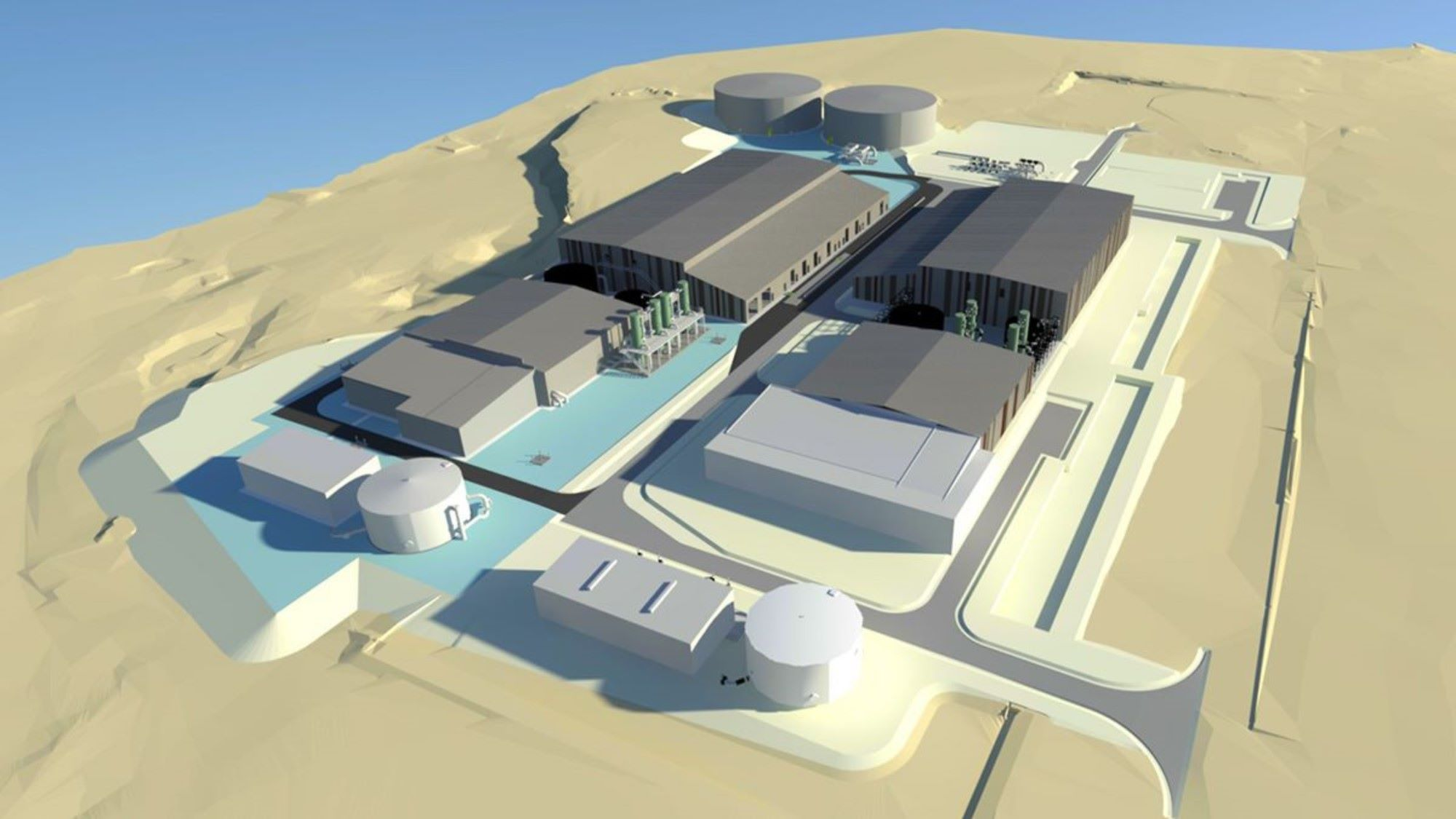 SUEZ suez and clough employees holding plans for new advanced water recycling plant 2000x1125