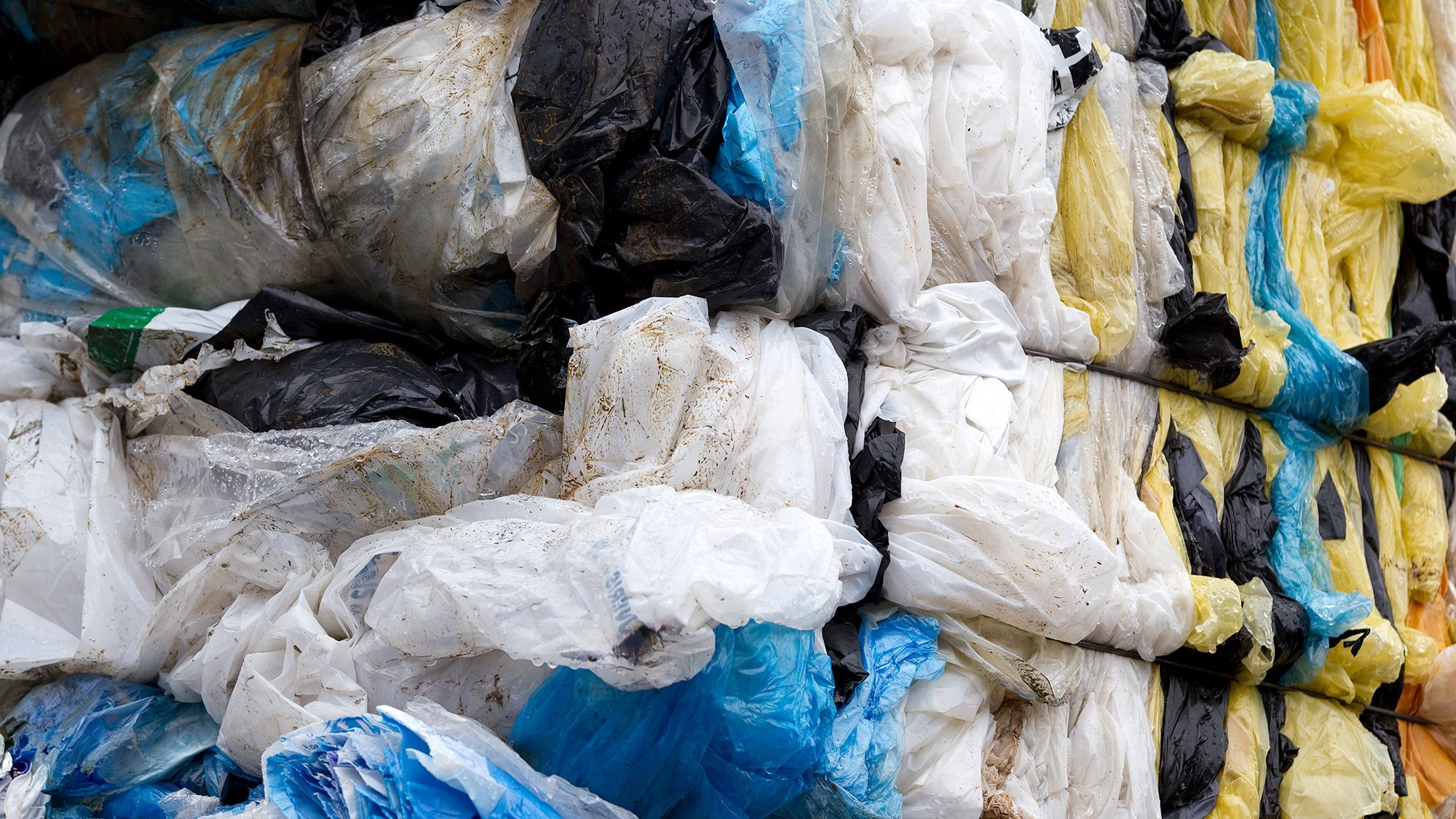 Plastic bags baled for recycling