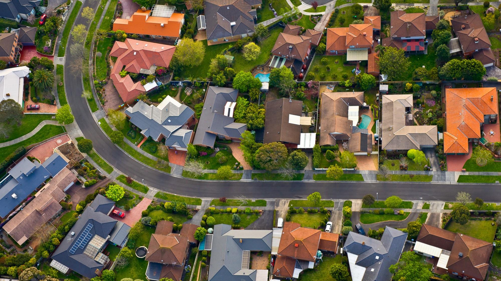 SUEZ aerial shot of households