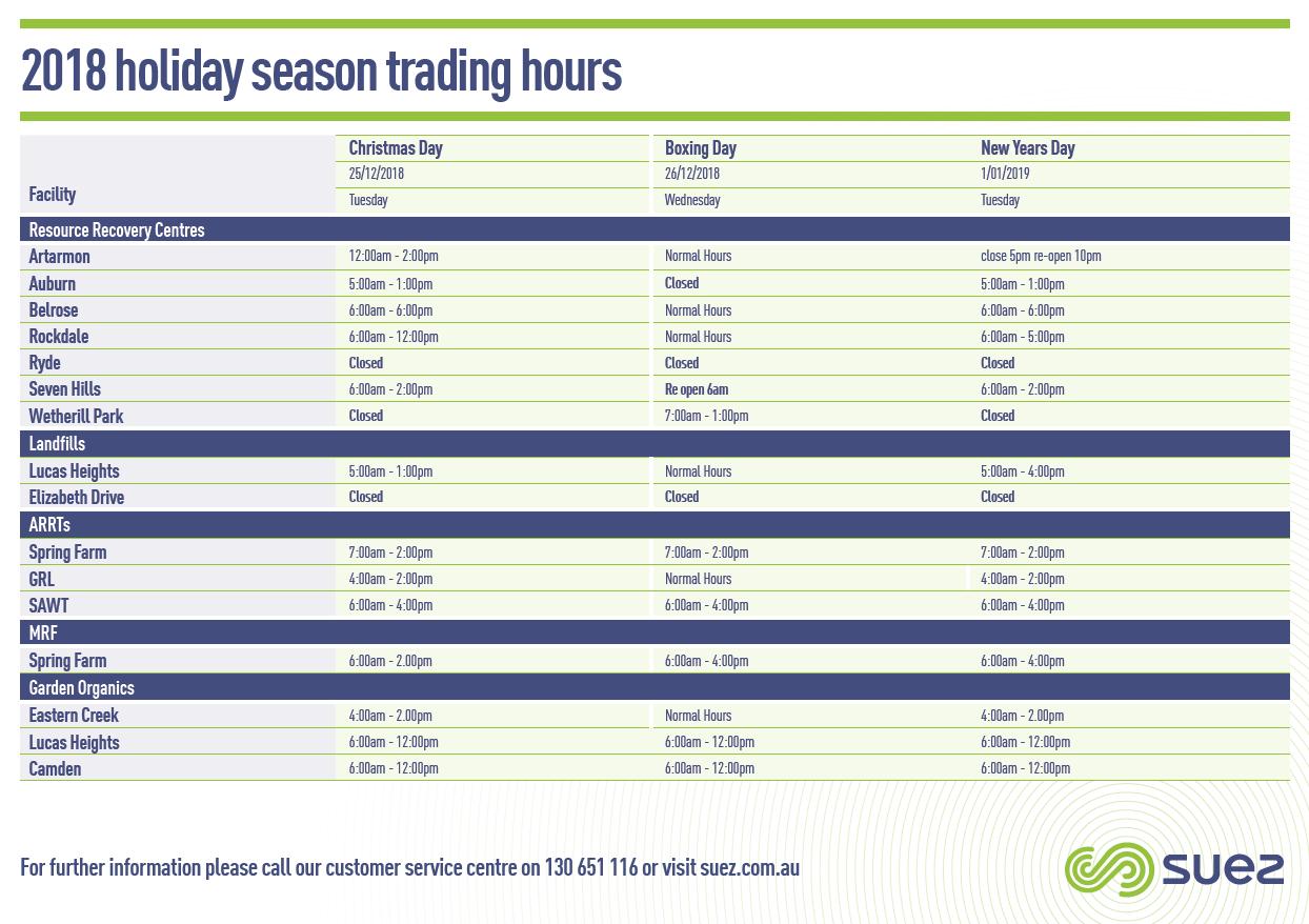 SUEZ NSW Infrastucture Christmas Hours Flyer
