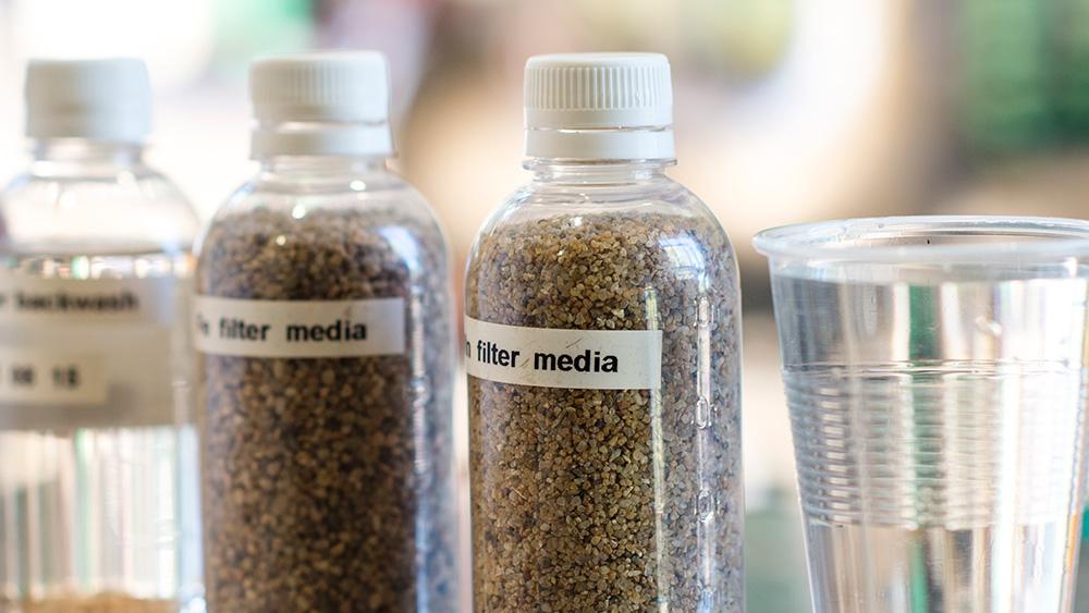Filtration media in bottles