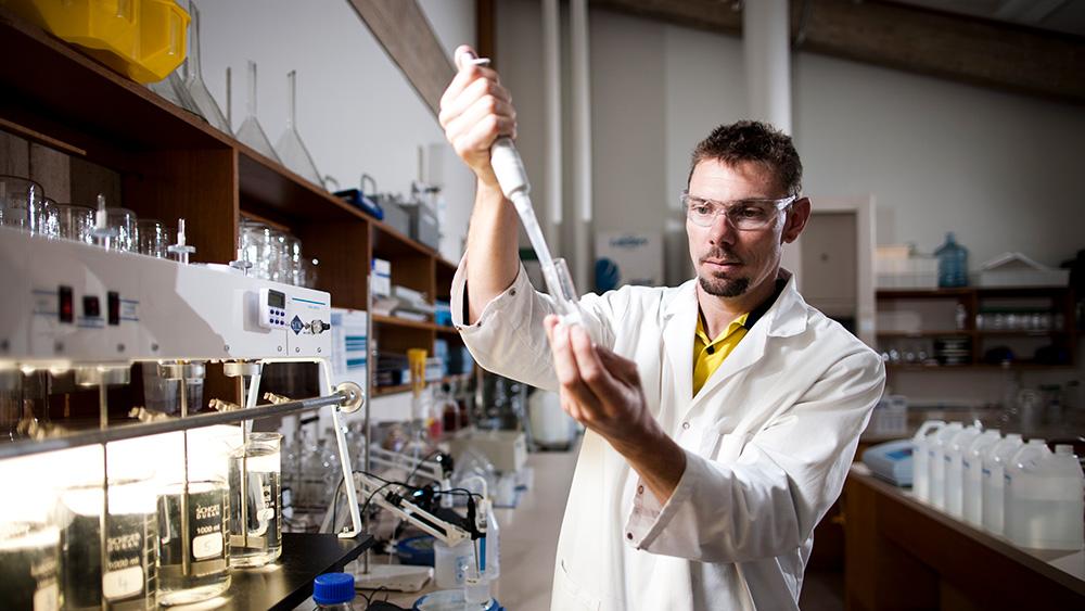 Allwater researcher in lab