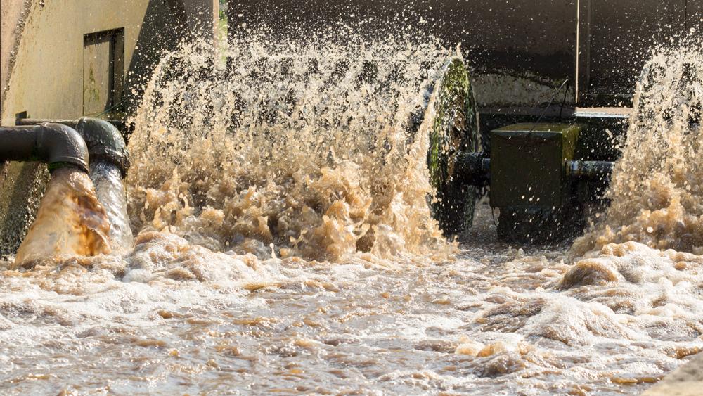 Effluent water being treated at SUEZ wastewater treatment plant