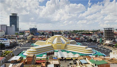 Central market in Phnom Penh City in Cambodia