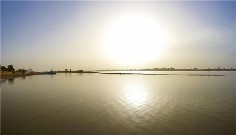 Peaceful view Delta of Niger big river in Mali