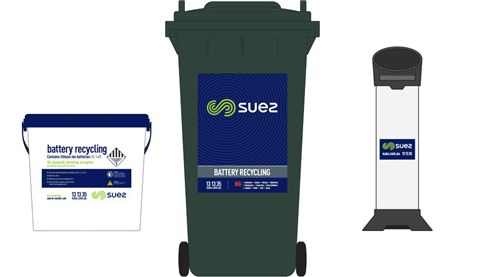SUEZ battery recycling bins