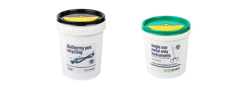 specialised buckets for recoverable medical items