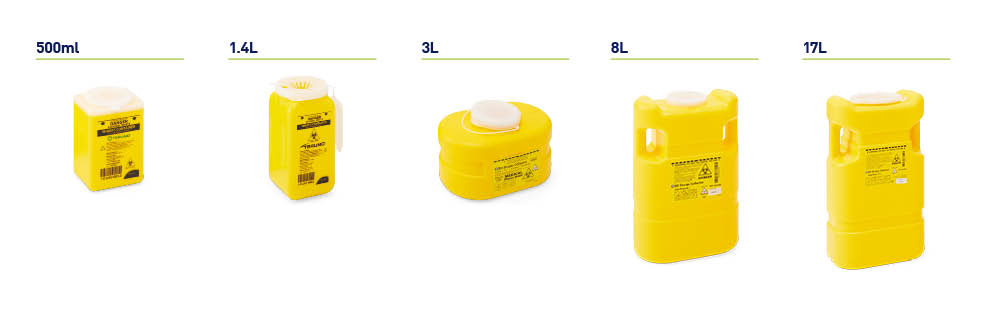 Clip top sharps containers