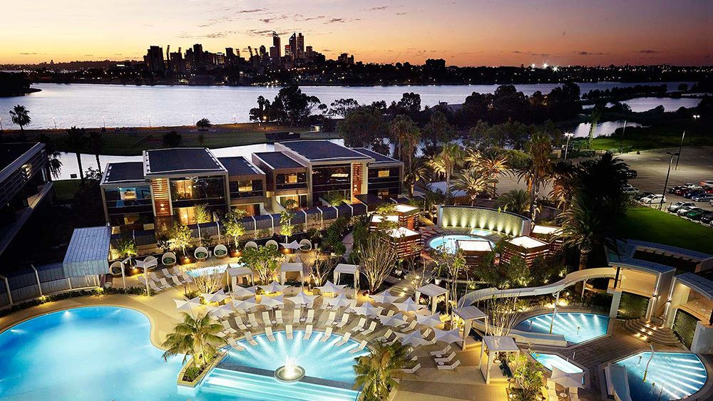 Crown Perth in its idyllic riverside setting
