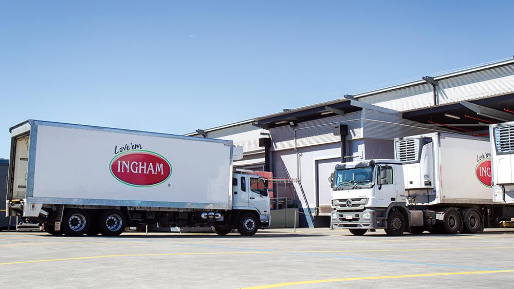 Trucks at Inghams factory