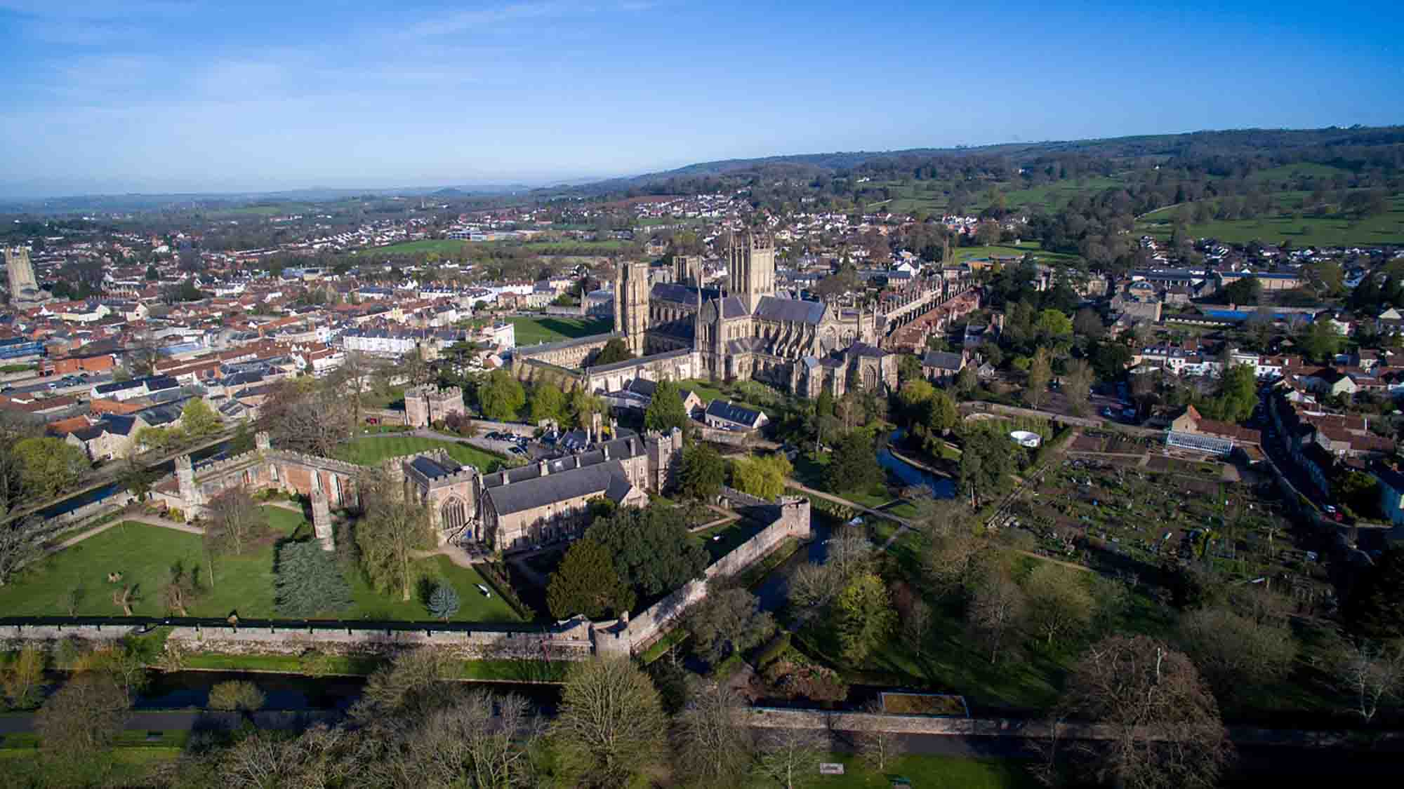 Aerial shot of Wells Cathedral, Wells, Somerset