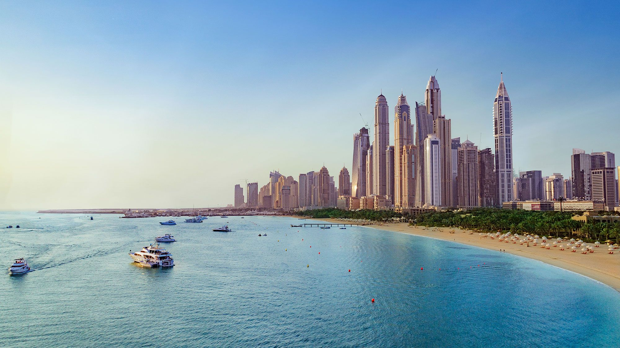 Beach and Skyline of Dubai Marina