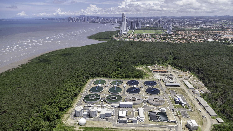 Imagem da planta da estação de tratamento de esgoto de Juan Díaz, no Panamá