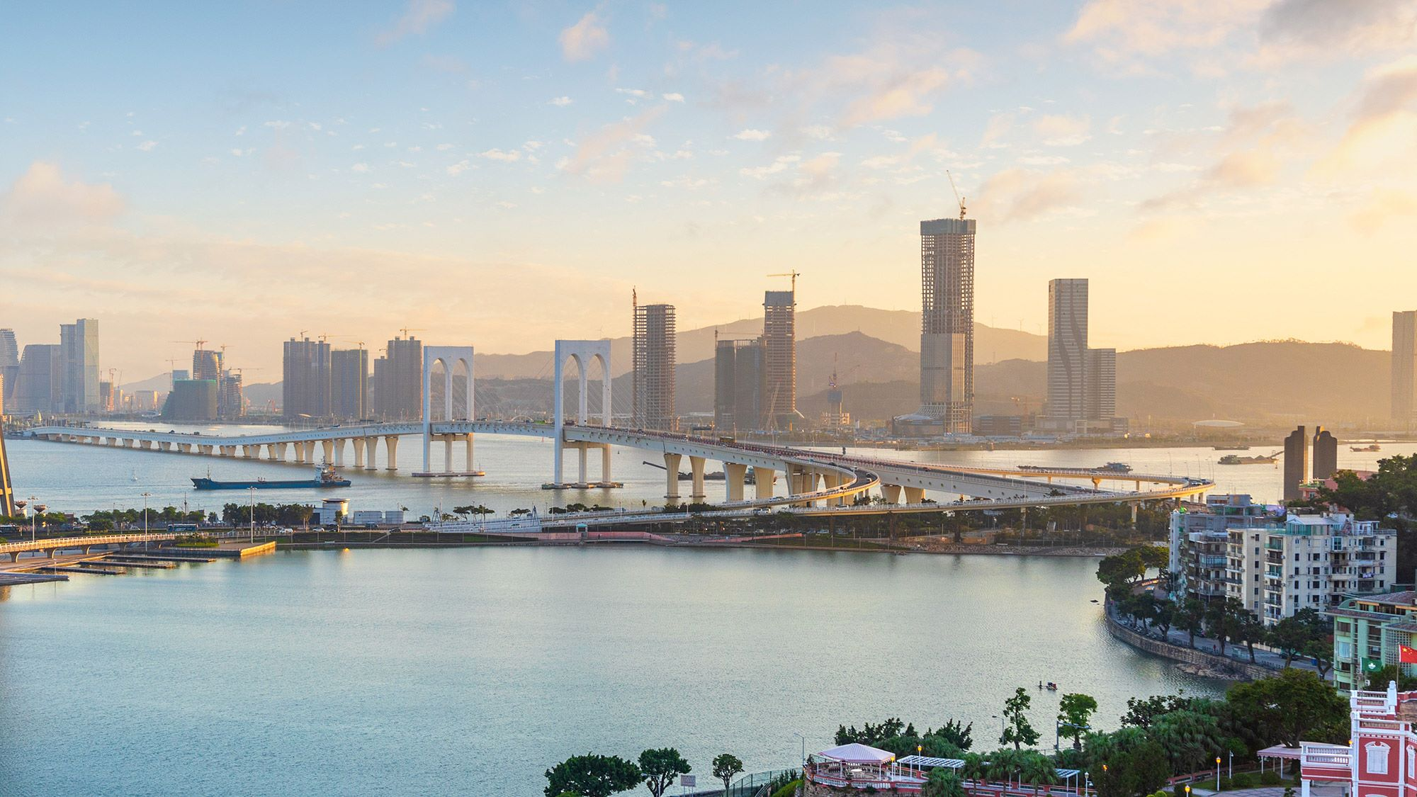 Macau city skyline at sunset