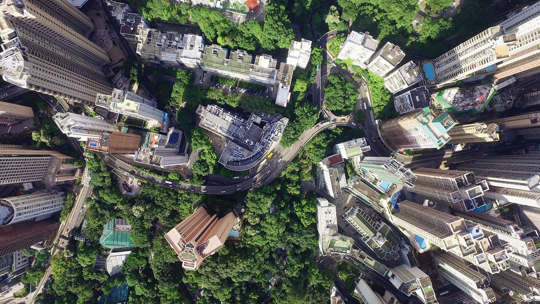 Vue aérienne d'une ville
