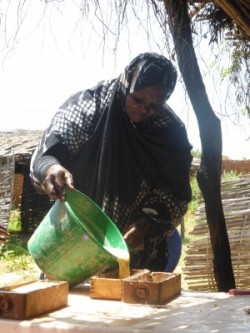 Woman making soap