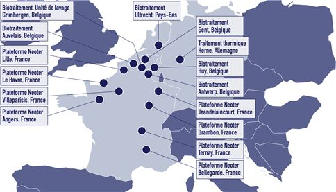 carte des installations fixes de traitement des terres en Europe FR