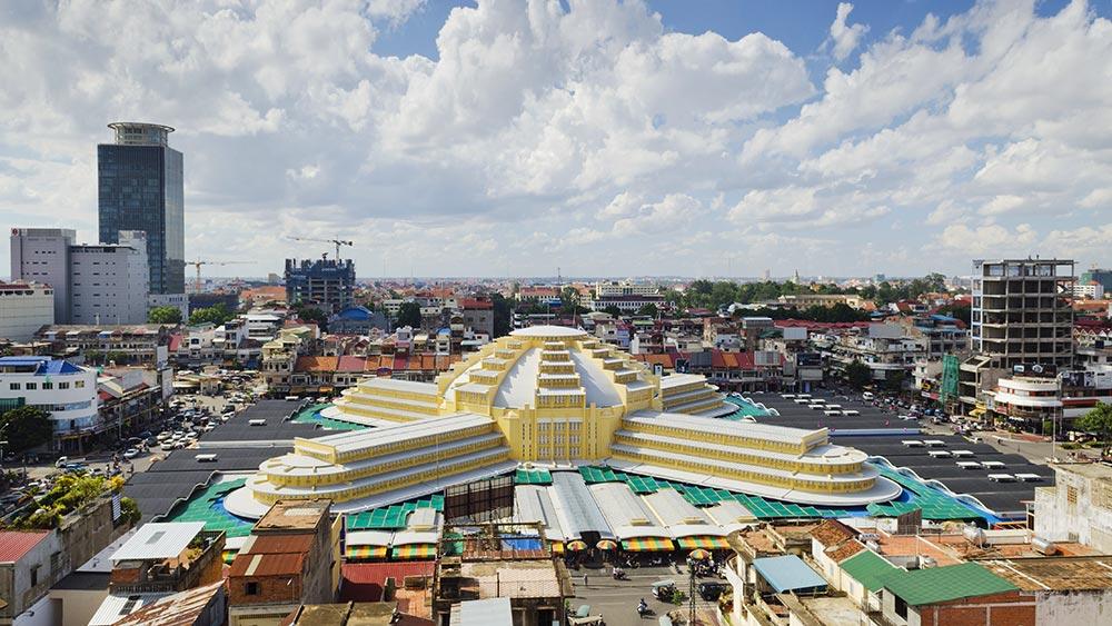 Marché central à Phnom Penh City au Cambodge