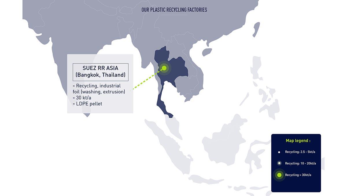 Usines prenant en charge différents types de plastiques recyclés, dont le rPET, en Asie