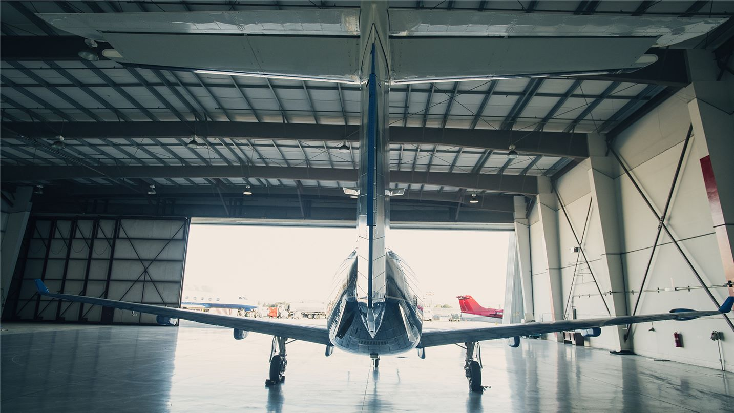 Airplane in hanger