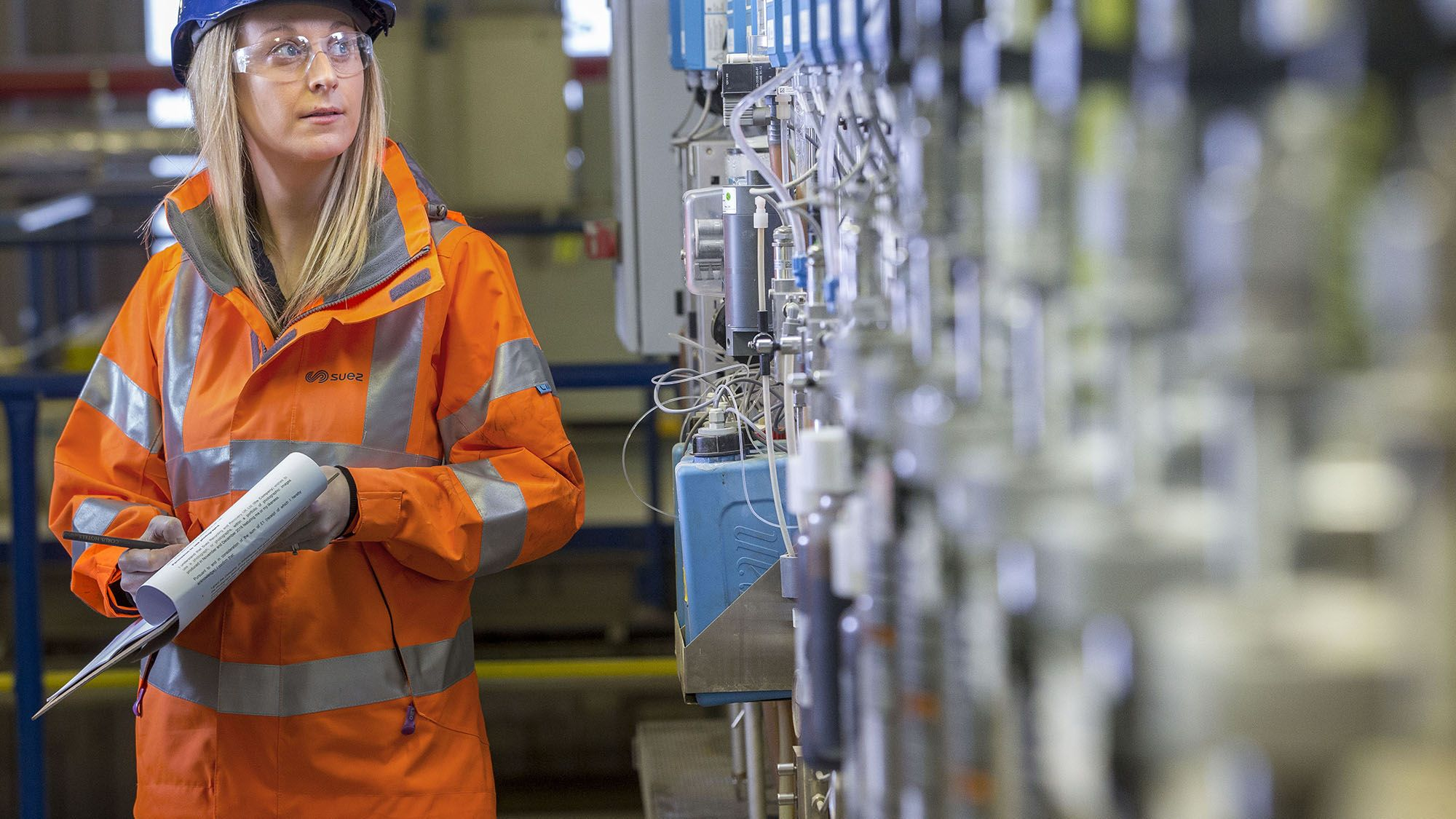 Employee carrying out checks at energy-from-waste facility