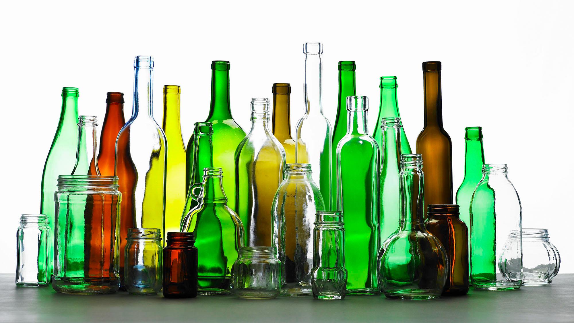 Mixed glass bottles