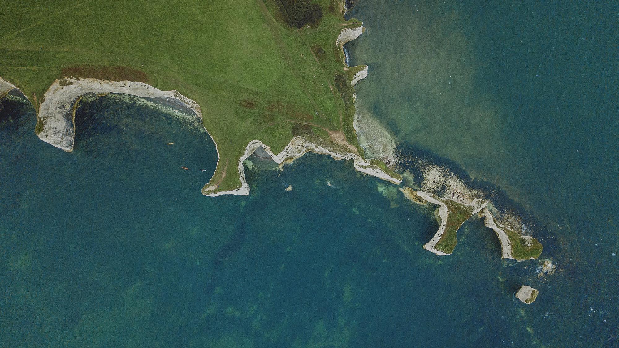 Aerial view of UK coast