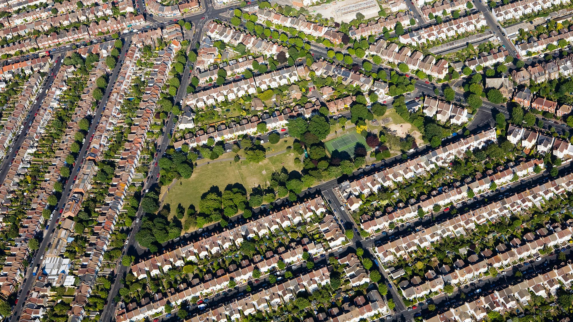 Aerial view of UK households