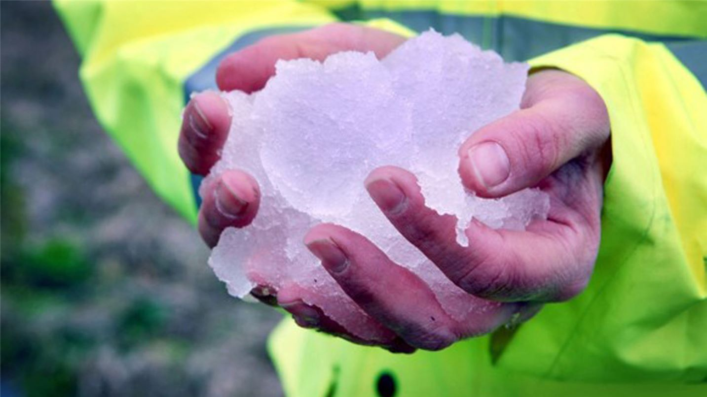 Ice in hands